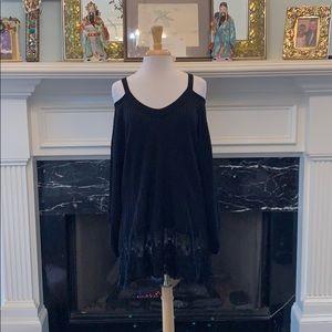 Black, cold shoulder, long sleeved Lace trim tunic